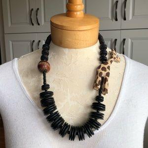 Vtg Wooden Giraffe Beaded Necklace